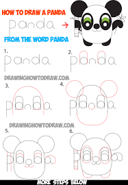how to draw cartoon pandas from the word panda easy step by step