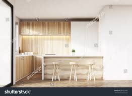 White Wooden Furniture Front View Kitchen Interior Light Wooden Stock Illustration