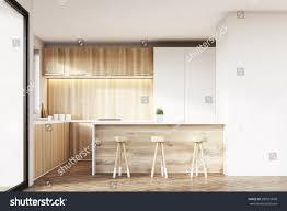 front view kitchen interior light wooden stock illustration