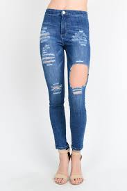 Destroyed High Waisted Jeans Curvy 429 High Waist Destroyed Denim Skinny Jeans Edgychic