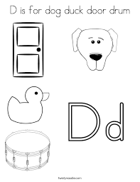 d is for dog duck door drum coloring page twisty noodle