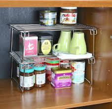Kitchen Cabinet Organizer Amazon Com 2 Pack Decobros Stackable Kitchen Cabinet Organizer
