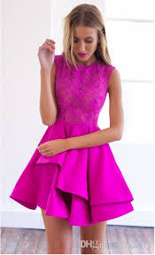 2016 new fuchsia lace a line prom dress sale cheap homecoming