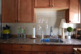backsplashes medium brown cabinet white glass tile backsplash