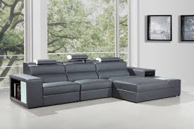 Modern Leather Living Room Polaris Mini Contemporary Grey Bonded Leather Sectional Sofa