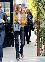 motorcycle style boots sleek in suede alessandra ambrosio u0027s matching moto jacket and