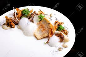 haute cuisine haute cuisine white fish fillet with potato stock photo