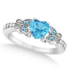 diamond heart ring butterfly blue topaz diamond heart engagement ring 14k w gold 1 33ct