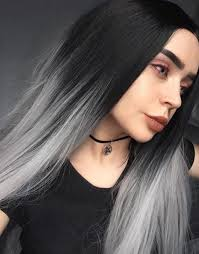 black at root of hair ombre silver synthetic lace front wig hs0003 heahair synthetic