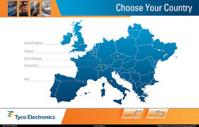 Europe Continent Map by Te Connectivity Lobby Kiosk