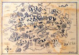 Ancient Map Pirate Map Art Print Ancient Map Pirate Map Fantasy Realm