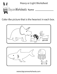 Worksheets For Kindergarten Printable Free Preschool Heavy Or Light Worksheet