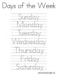 days of the week worksheet for preschool preschool and kindergarten