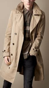 burberry brit long resin washed cotton gabardine trench coat in