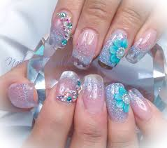 imagenes de uñas acrilicas fresh pearls teal fresh colors clear tips with glitter uñas acrilicas