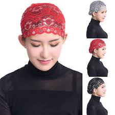 lace headwear fashion muslim scarf glitter lace headwear hat cap