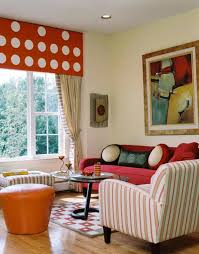 Decorating With Red Sofa Eclectic Living Room With Stripes And Red Sofas Decorating Ideas