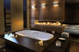 romantic bathroom decorating ideas fetching two sided fireplace partition feats with sophisticated hot