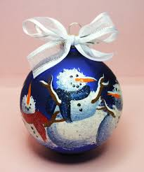 christmas snowmen ornament hand painted glass ball ornament