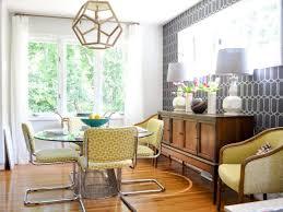mid century modern dining room hutch indoor plant wooden varnished