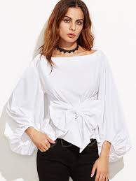 big bow blouse big bow knot plain drop shoulder lantern sleeve s blouse