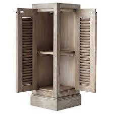 Shutter Door Cabinet Grey Wood Triangle Corner Free Standing Linen Closet With Shutter