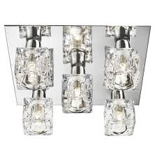 crystal ceiling lights modern modern 5 light ice cube flush ceiling light with chrome backplate