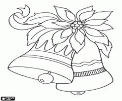 poinsettia coloring pages christmas bells and poinsettia coloring page printable game