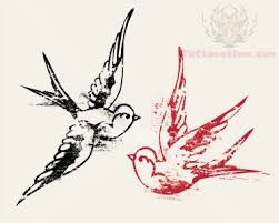 black and red swallow tattoo designs