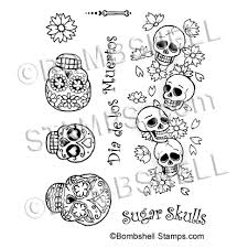 sugar skulls rubber st set with 3 decorated sugar skull sts