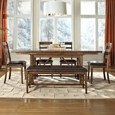 Dining Room Bench With Back by 6 Piece Dining Table Ladder Back Chair And Bench Set By Intercon