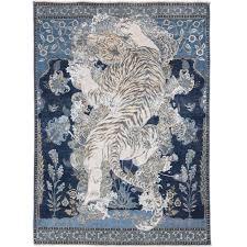 Tibetan Hand Knotted Rug 17th Century Modern Tibetan Tiger Hand Knotted Wool And Silk Rug