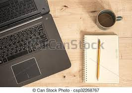 ordinateur portable de bureau café bureau tasse travail ordinateur portable image de stock