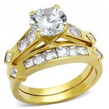 Womens Wedding Ring Sets by Gold Tone Stainless Steel Cubic Zirconia Round Cut Bridal Women U0027s