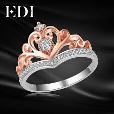 real wedding rings images Edi classic crown real natural diamond wedding rings for women 14k jpg