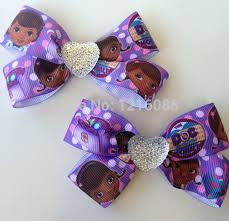 doc mcstuffins ribbon purple doc mcstuffins ribbon hair bow clip with bling hair bow