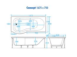 trojan concept shower bath 1675 x 750mm with bath screen