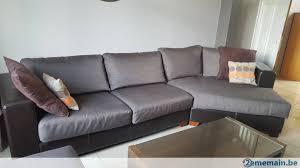 canapé d angle cuir et tissu canapé d angle simili cuir et tissu brun foncé pouf a vendre