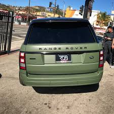 wrapped range rover rdbla matte army green range rover rdb la five star tires