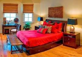 retro bright bedroom color ideas with teak wood bed frame