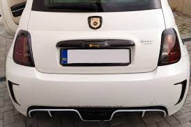 Fiat 500 Abarth White Koshi Carbon Fiber Central Exhaust Diffuser White Stripe
