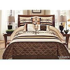 Dimensions Of A Queen Size Comforter Amazon Com Legacy Decor 8 Pieces Blue Beige Brown Luxury Stripe