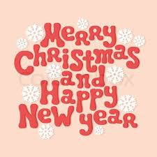 merry christmas and happy new year lettering greeting card 2015