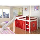 amazon com maxtrix twin mid loft bed w straight ladder and slide