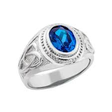 mens celtic rings men s 925 silver knot band blue cz september