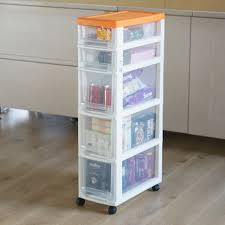 Narrow Storage Cabinet With Drawers 22cm Ultra Narrow Gap Narrow Belt Pulley Plastic Five Drawer