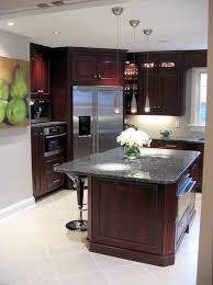 Recessed Panel Rosewood Cherry Cabinets Blue Pearl GT Granite - Rosewood kitchen cabinets
