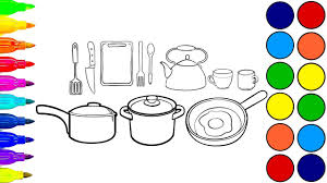 kitchen set toy coloring book learn colors coloring page kitchen