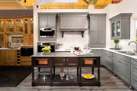 wellborn willow grey maple cabinets with cherry island in shadow