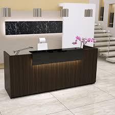 Black Reception Desk Libra Straight Formation Reception Desk Zebrano Wild Finish Black